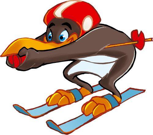 Pinguin BOBO's KINDER-CLUB© | Pinguin BOBO in der Abfahrtshocke